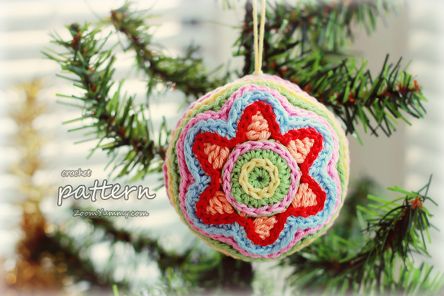 Crochet Pattern - Colorful Christmas Star Ball