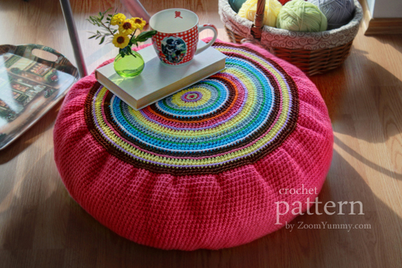 Crochet Pattern - Colorful Crochet Floor Cushion