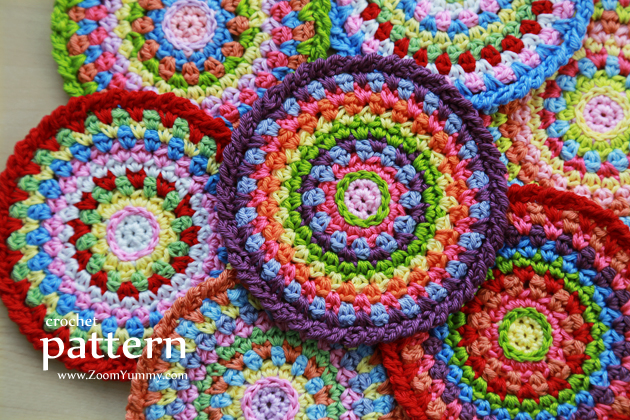 Crochet Pattern - Colorful Mosaic Coasters