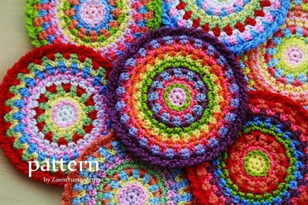 Crochet Pattern - Colorful Mosaic Coasters