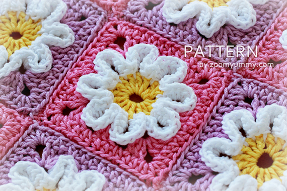 Crochet 3D Flower Baby Blanket