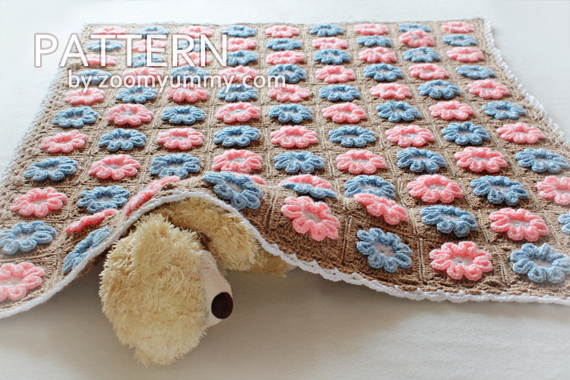 Crochet Pattern - 3D Flower Baby Blanket