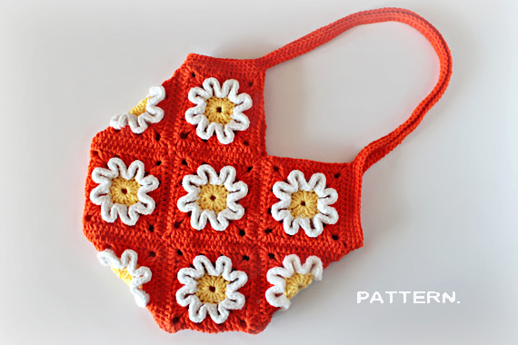 Crochet Pattern - Crochet 3D Flower Purse