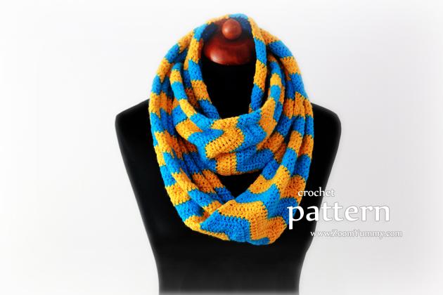 Crochet Pattern - Crochet Chevron Infinity Scarf