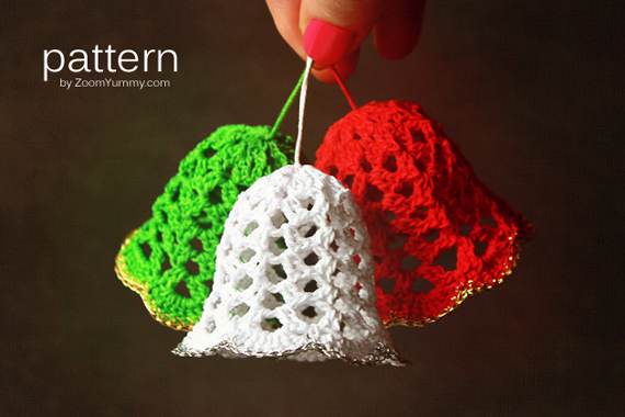 Free Crochet Cotton Christmas Patterns : Crochet Christmas Bells (Pattern No. 020) Zoom Yummy ...