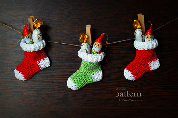 Crochet Pattern - Christmas Stocking Ornaments