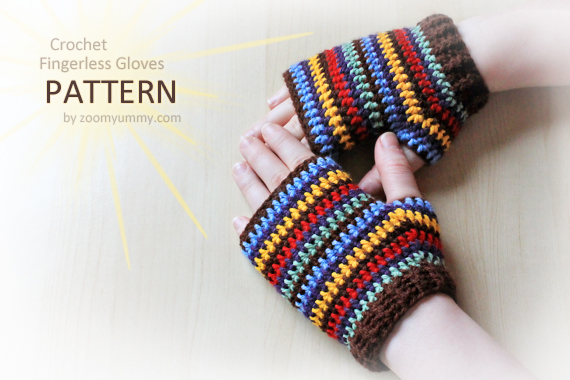 Crochet Fingerless Gloves (Pattern No. 047) ? Zoom Yummy - Crochet ...