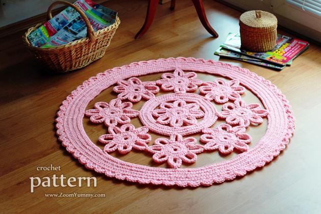 Crochet Pattern - Crochet Flower Rug