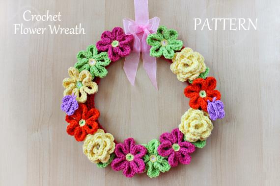 Crochet Pattern - Crochet Flower Wreath