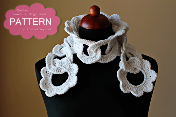 Crochet Pattern - Flowers And Rings Scarf