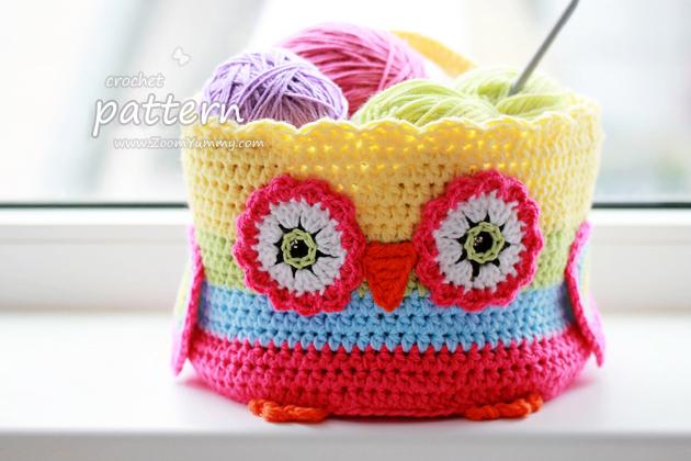 Crochet Pattern - Crochet Owl Basket