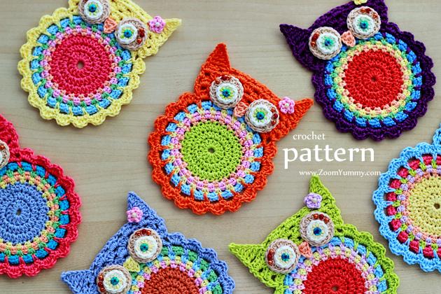 Crochet Coasters : Crochet Pattern - Crochet Owl Coasters
