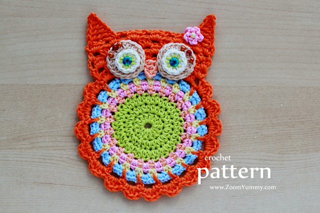 Crochet Owl Coasters (Pattern No. 058) Zoom Yummy ...
