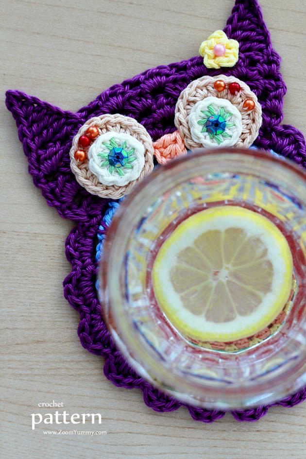 Crochet Owl Coasters (Pattern No. 058) Zoom Yummy ...
