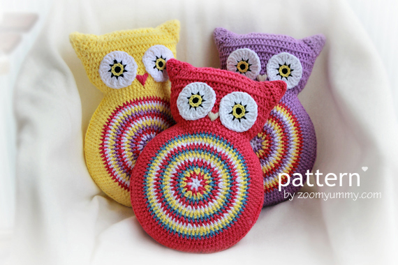 Free Crochet Owl Cushion Pillow Pattern : Crochet Owl Cushion (Pattern No. 007) Zoom Yummy ...