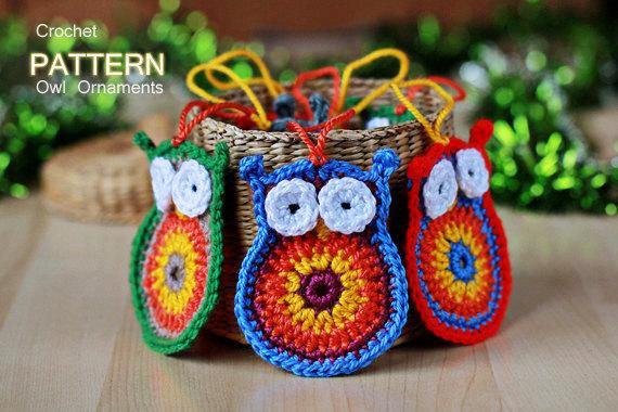 Crochet Pattern - Crochet Owl Ornaments