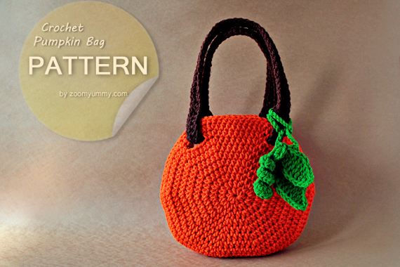 Crochet Back Bag : Crochet Pumpkin Bag (Pattern No. 045) ? Zoom Yummy - Crochet, Food ...