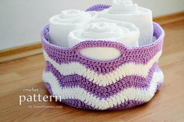 Crochet Pattern - Crochet Ripple Basket