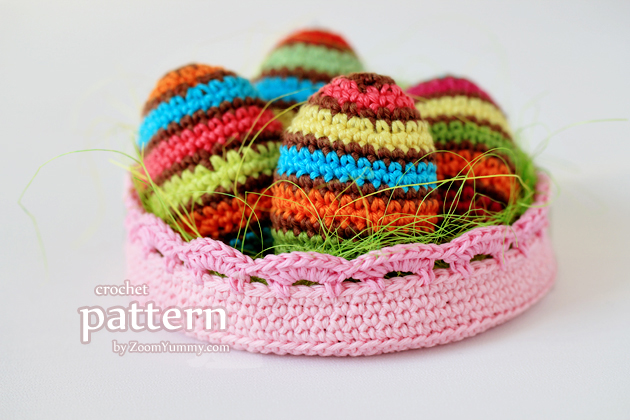 Crochet Pattern - Striped Easter Eggs In A Bowl
