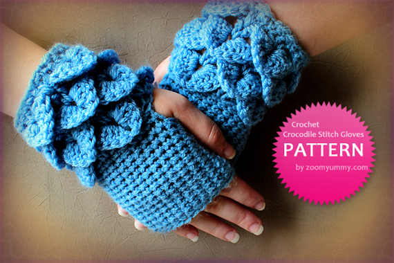 Crochet Pattern - Crocodile Stitch Fingerless Gloves