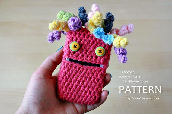 Crochet Pattern - Hairy Monster Cell Phone Cover