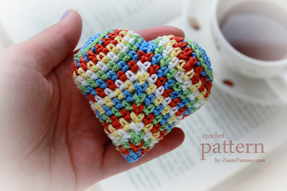 Crochet Pattern - Happy Colorful Crochet Heart