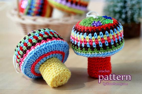 Crochet Pattern - Happy Mushroom Ornaments