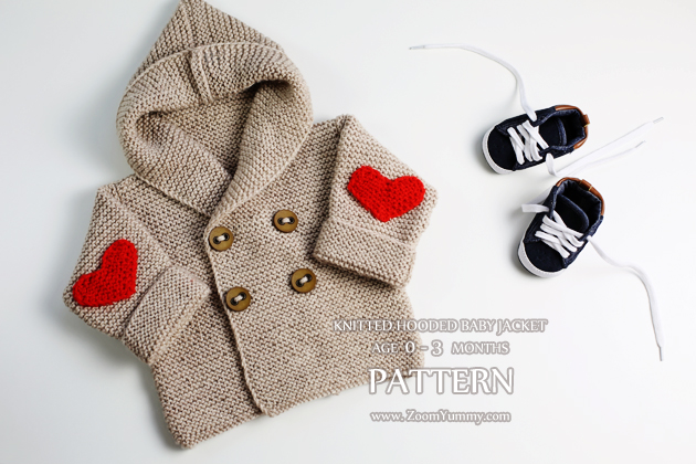 Knitting Pattern Baby Jacket : Knitted Hooded Baby Jacket, Age 0-3 Months (Pattern No. 064)   Zoom Yummy   C...