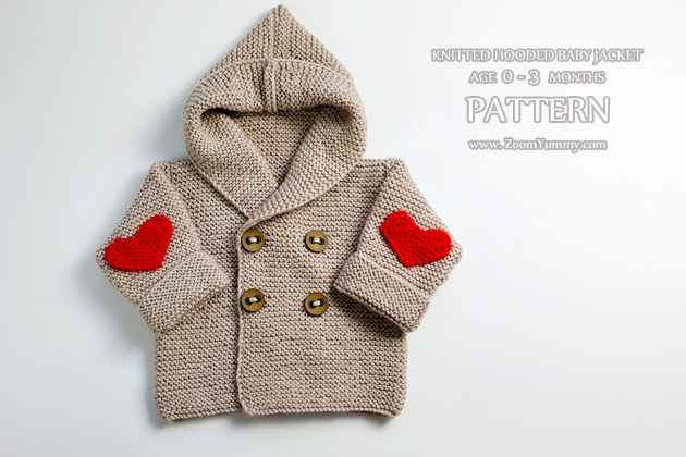 Knitted Hooded Baby Jacket, Age 0-3 Months (Pattern No ...