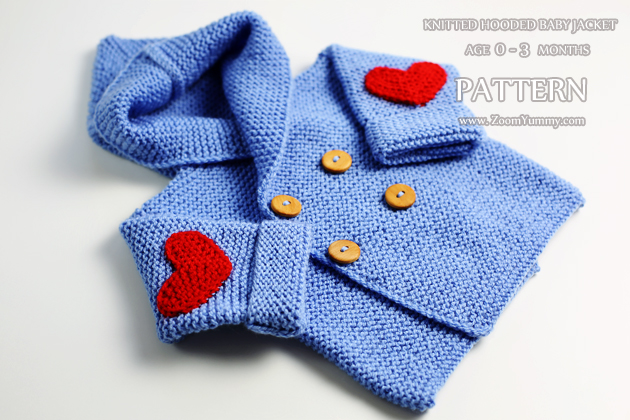 Knitted Hooded Baby Jacket, Age 0-3 Months (Pattern No. 064)   Zoom Yummy   C...