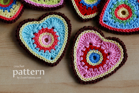 Crochet Pattern - Sweet Crochet Heart Ornaments