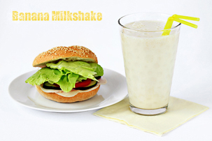 banana milkshake recipe with step by step pictures and list of ingredients