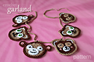 crochet animal toy decorations - monkey, teddy bear, !@#$%^&* cat - appliques, Christmas tree ornaments, garland - pattern