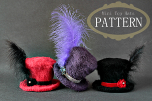 crochet mini top hats pattern, pdf pattern, tutorial, how to make mini crochet top hats, crochet hats pattern, miniature crochet hats pattern