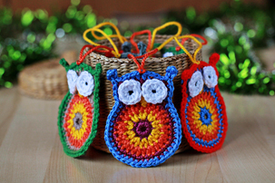 crochet owl Christmas ornaments pattern
