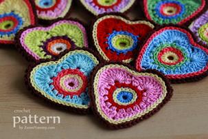 colorful crochet heart ornaments pattern