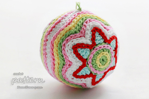 pdf pattern - colorful crochet Christmas star ball
