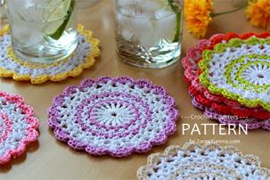 sweet crochet coasters pattern, pdf pattern, step-by-step tutorial
