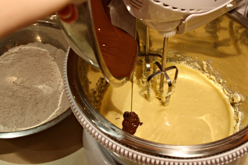 st-martins-cake-adding-melt-chocolate-to-batter