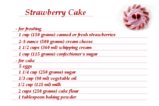 Ingredient Strawberry Cake Recipe