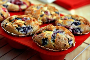 mixed berry muffins with white chocolate chunks recipe with step by step pictures and list of ingredients, berry muffins