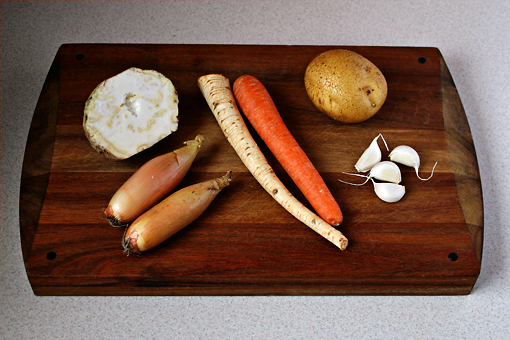 bean soup recipe with step by step pictures, vegetables, celery root, onion, parsley root, carrot, potato, garlic cloves