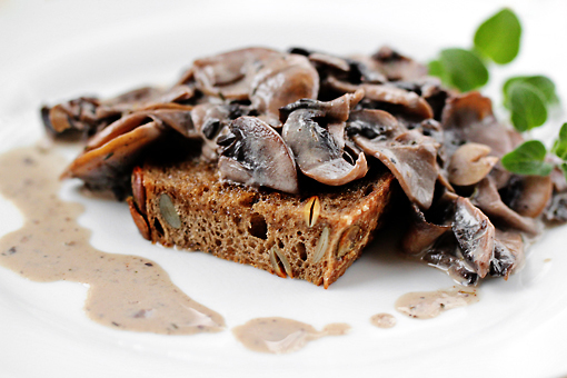 mushroom ragout on garlic toast recipe with step by step pictures