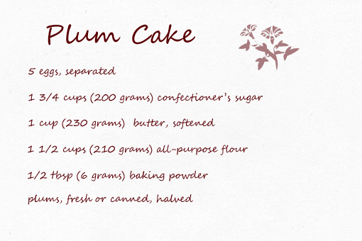 plum cake recipe with step by step picture tutorial, ingredients