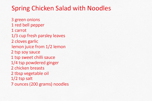 spring chicken salad with noodles recipe with step by step pictures ...