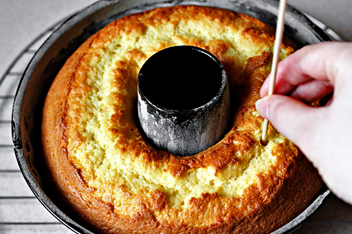 tangerine bundt cake recipe with step by step pictures, bake until a wooden skewer inserted into the center of the cake comes out clean