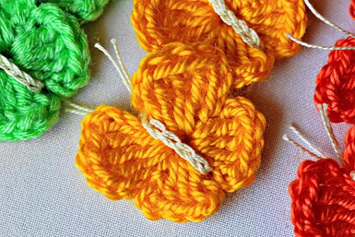 crochet butterflies, crocheted colorful butterflies