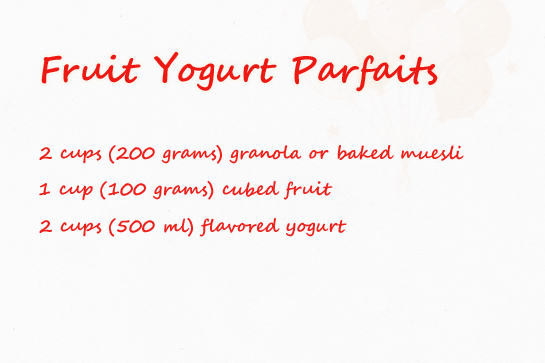 fruit yogurt parfaits recipe with step by step pictures, ingredients
