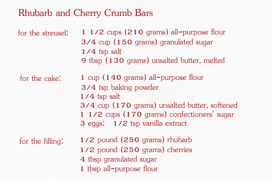 rhubarb and cherry crumb bars step by step picture recipe, ingredients