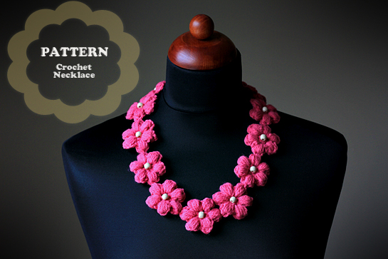 crochet flower necklace pattern, picture tutorial, pdf pattern